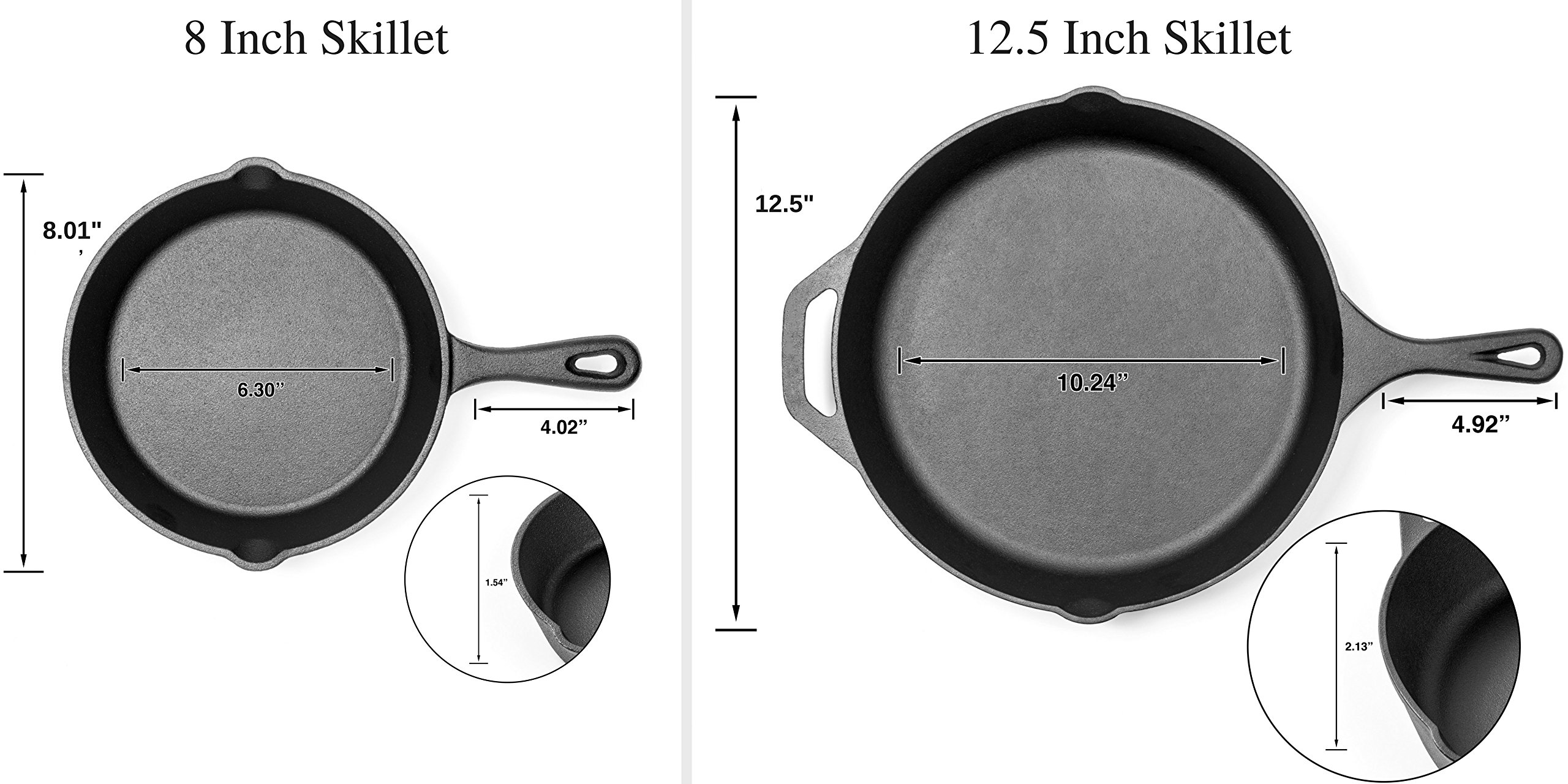 Pre-Seasoned Cast Iron Skillet 2 Piece Set (12.5 inch & 8 inch Pans) Best Heavy Duty Professional Restaurant Chef Quality Pre Seasoned Pan Cookware Set - Great For Frying, Saute, Cooking Pizza & More by Amsha Kitchen (Image #2)