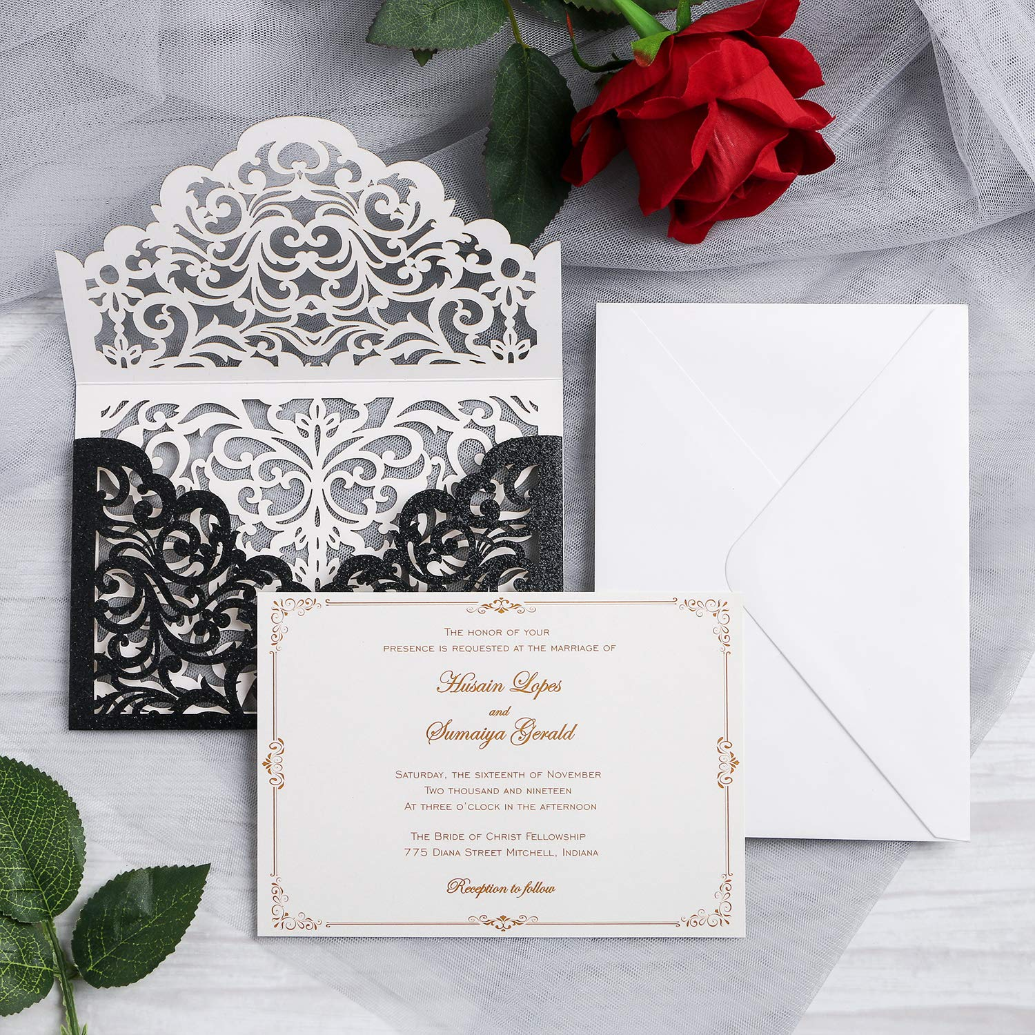 Yimil 20 Pcs Laser Cut Wedding Invitation Cards With Envelopes For Wedding Quinceañera Birthday Engagement Bridal Shower Graduation Party Black