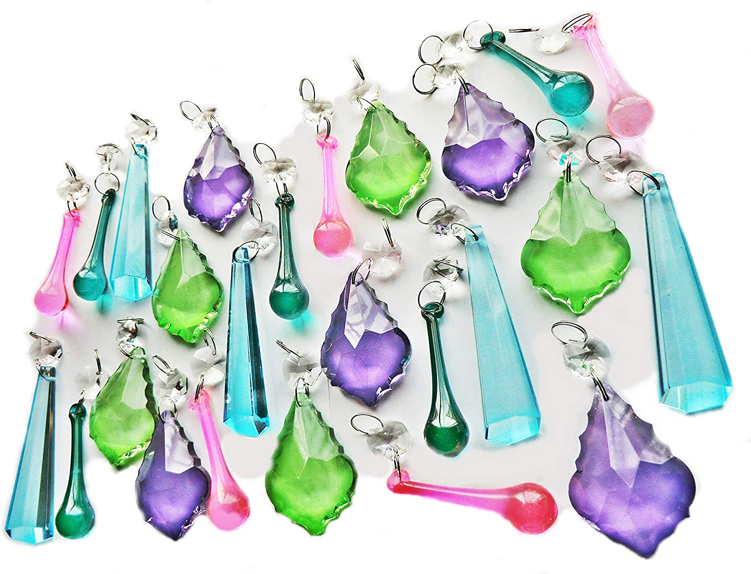 25 Chandelier Drops Clear Glass Antique Shapes Crystals