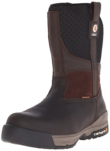 "fa7166dc24 Carhartt Men's 10"" Force Lightweight Waterproof Composite Toe Work Boot  CMA1310, Brown Coated Leather"