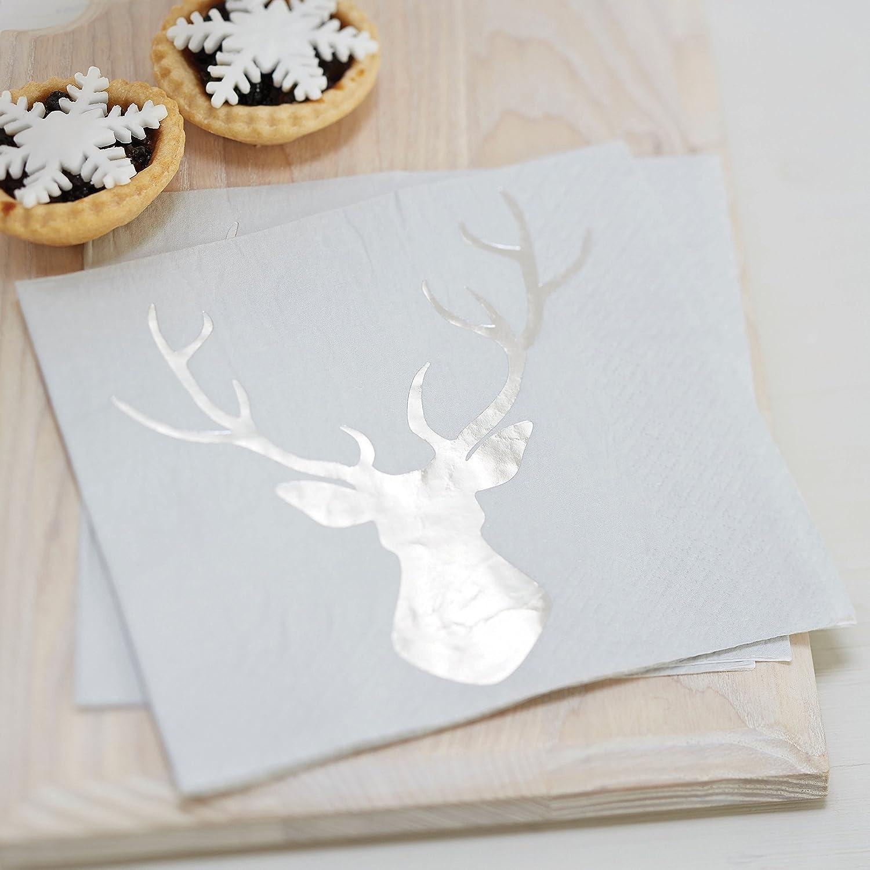 Ginger Ray Silver Foiled Christmas Metallic Stag Party Paper Napkins x 20 - Christmas Metallics