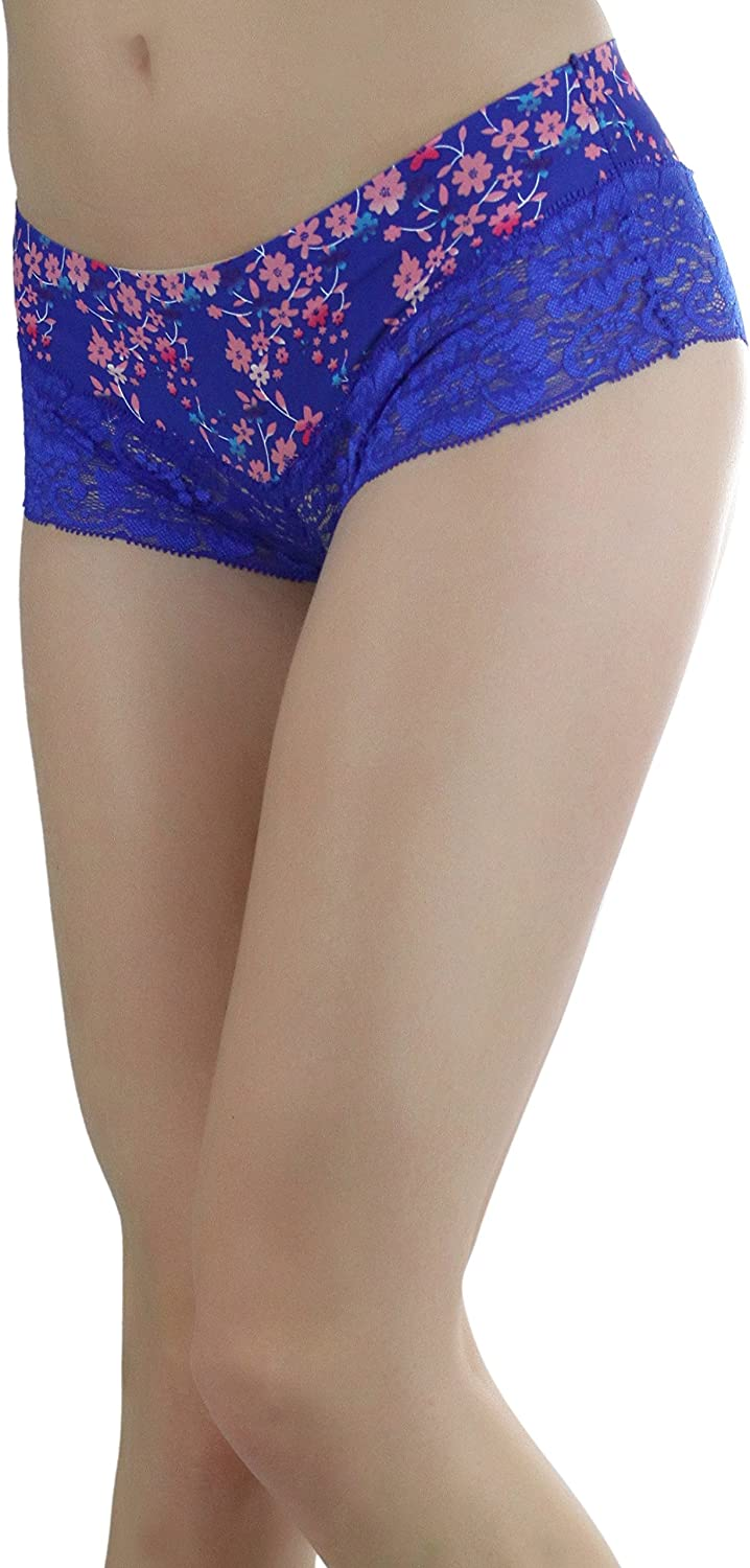 ToBeInStyle Womens 6 Pack No Show Laser Cut Boyshorts with Lace Detail