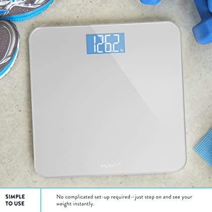 Digital Body Weight Bathroom Scale by Balance, Large Glass Top, Backlit Display, Precision Measurements, Digital Bathroom Scales for Good