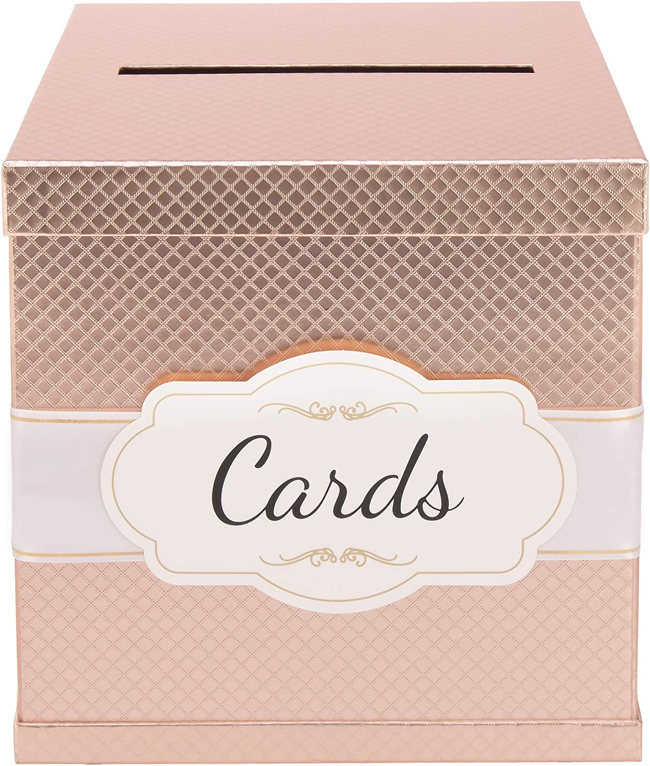 "Rose Gold Card Box - Gold-Foil Satin Ribbon & Cards Label - 10""x10"" Large Premium Finish, Perfect in Wedding Receptions, Birthdays, Graduations, Bridal & Baby Showers by Merry Expressions"