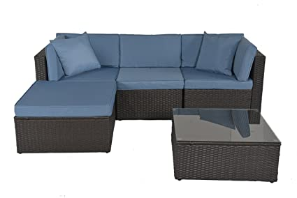 GOJOOASIS Outdoor Patio PE Wicker Rattan Sectional Furniture Conversation  Set With Cushion And Pillow, Steel