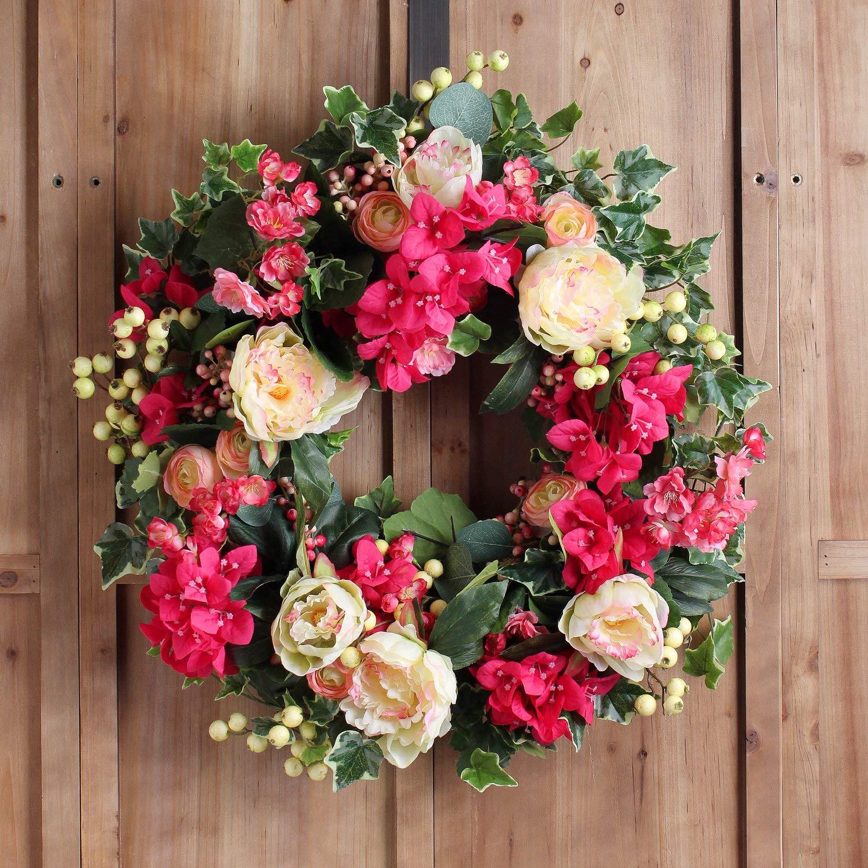 Darby Creek Trading Tropical Pink Bougainvillea, Cream Peony, Wild Ivy & Gooseberry Spring Summer Wreath