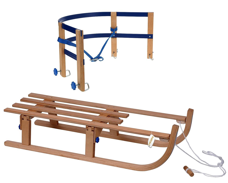 Holzschlitten mit Stahlkufen - Klappbarer Davoser Schlitten für platzsparenden Transport - 110 cm