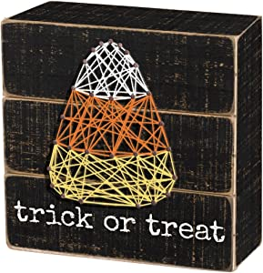 Primitives by Kathy String Art Halloween Box Sign, 4 x 4-Inches, Trick or Treat