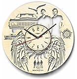 Supernatural 木製掛け時計ー完璧で美しく作られたー現代アートで自宅を飾ろうー彼と彼女にユニークなギフトーサイズ12インチ(30 ㎝)