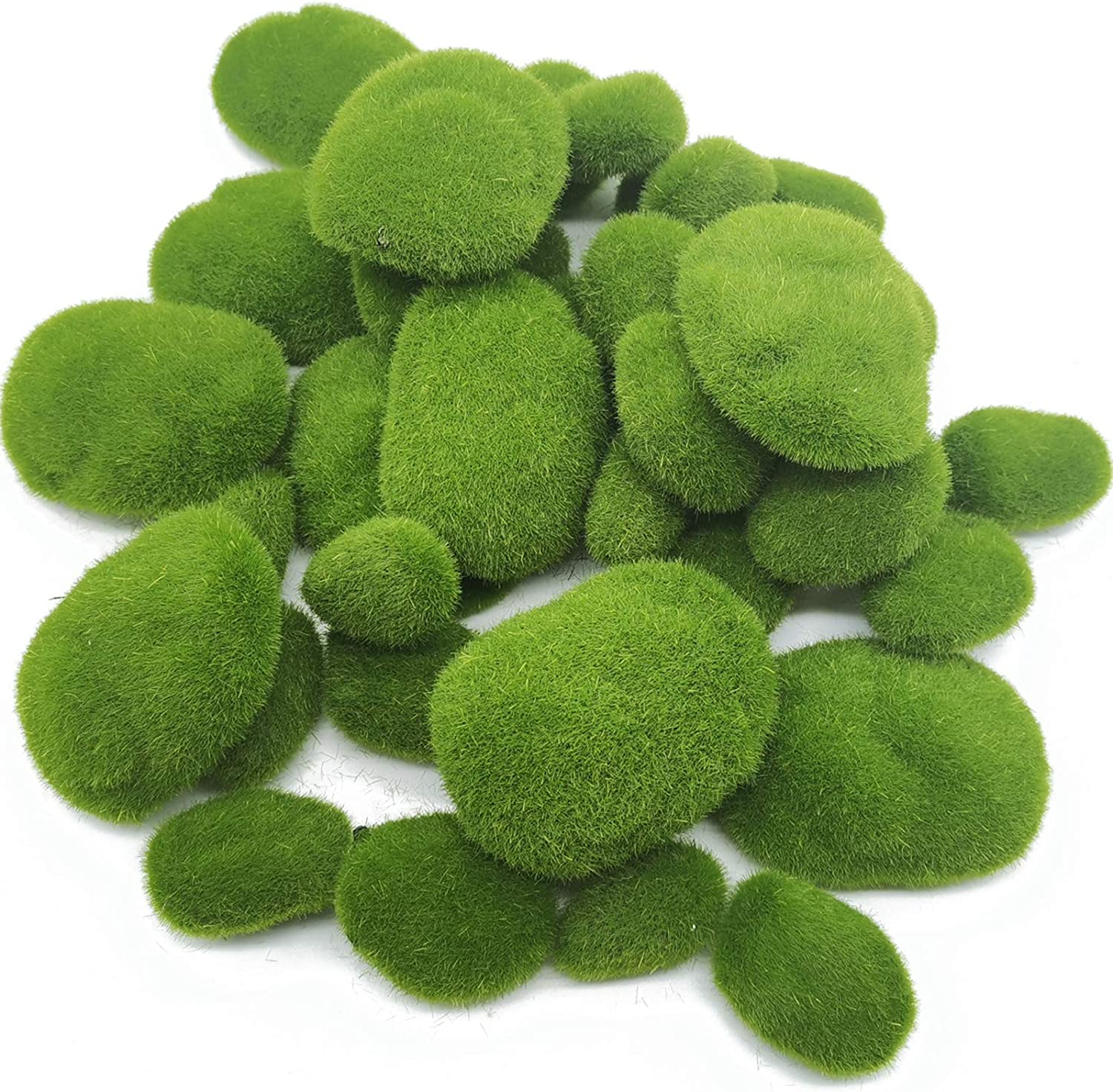 TIHOOD 40PCS 4 Size Artificial Moss Rocks Decorative, Green Moss Balls,Moss Stones, Green Moss Covered Stones, Fake Moss Decor for Floral Arrangements, Fairy Gardens and Crafting
