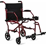 "Medline Ultralight Transport Mobility Wheelchair, 19"" Wide Seat, Permanent Desk-Length Arms, Swing Away Footrests, Red Frame"