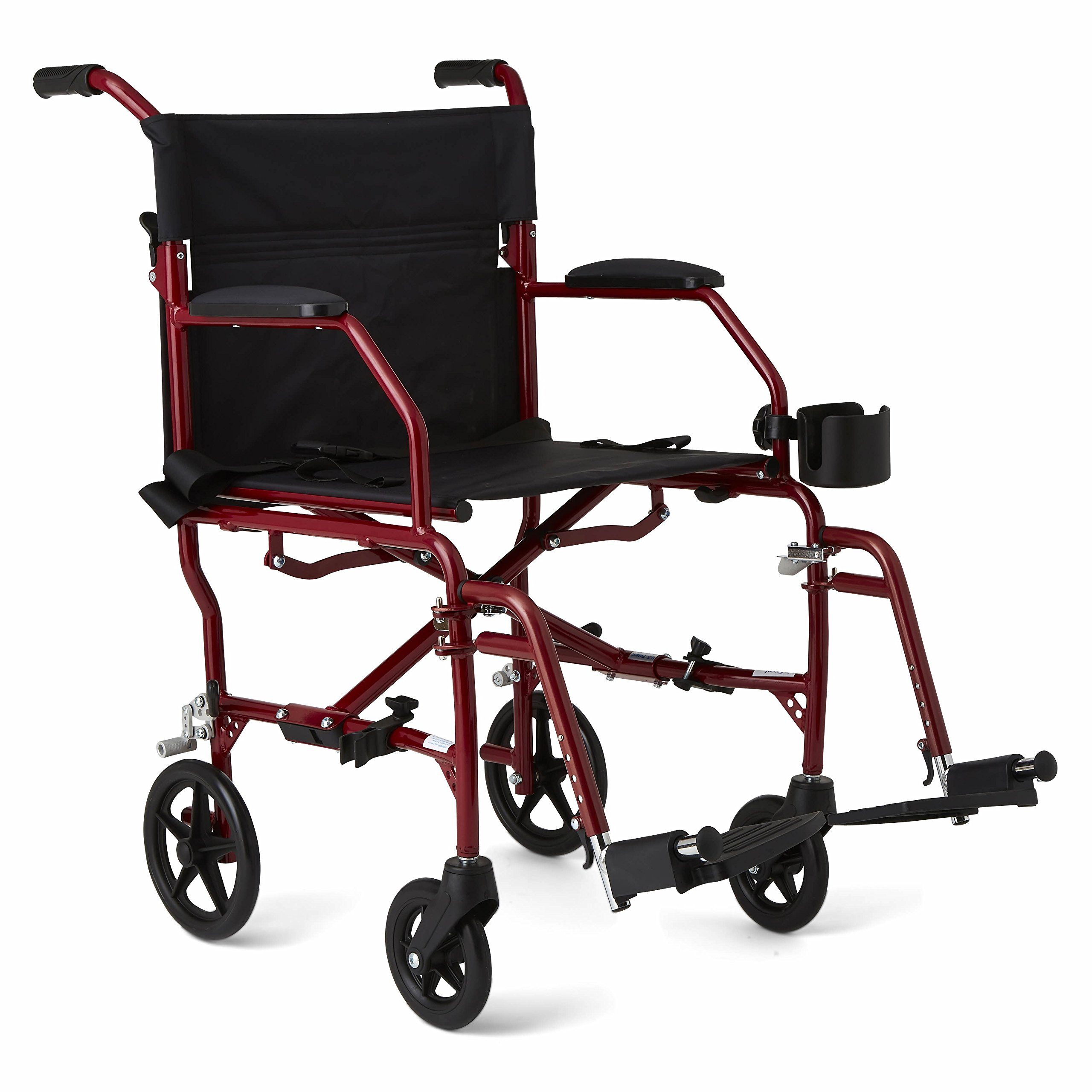 Medline Ultralight Transport Wheelchair with 19'' Wide Seat, Folding Transport Chair with Permanent Desk-Length Arms, Red Frame by Medline