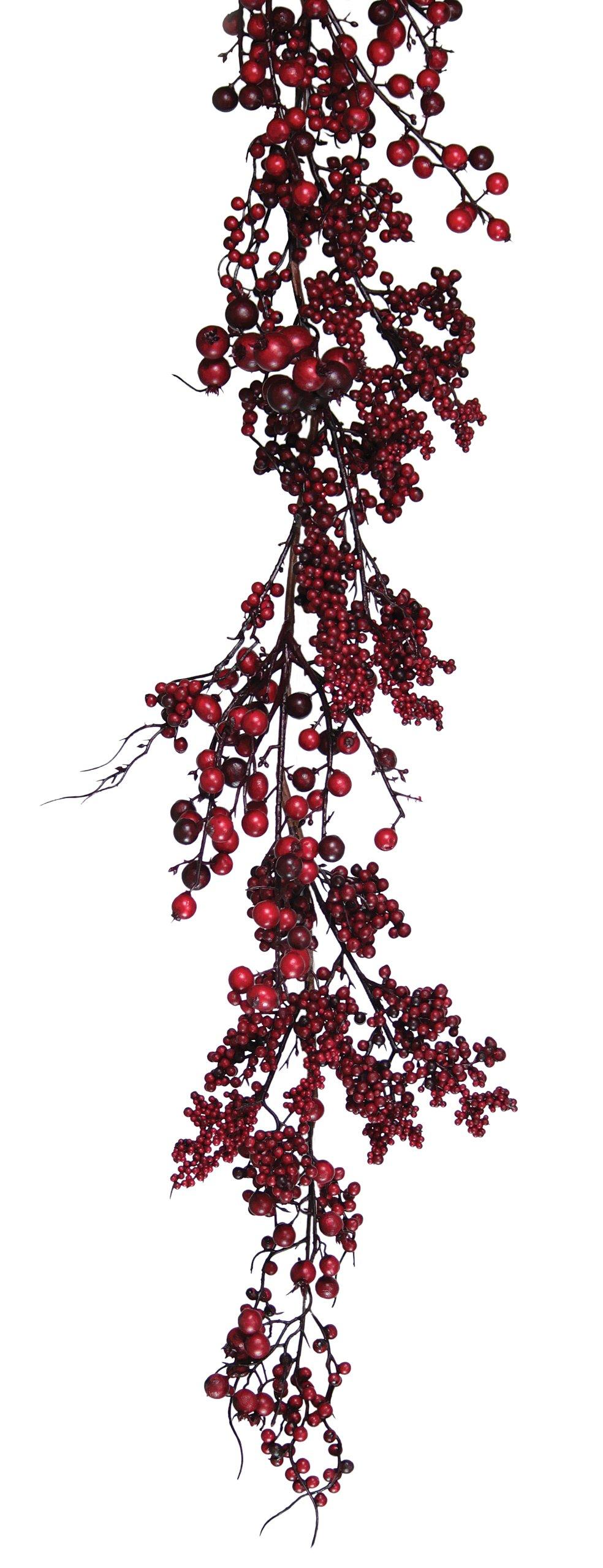 Melrose International Red and Burgundy Berry Garland, 65-Inch