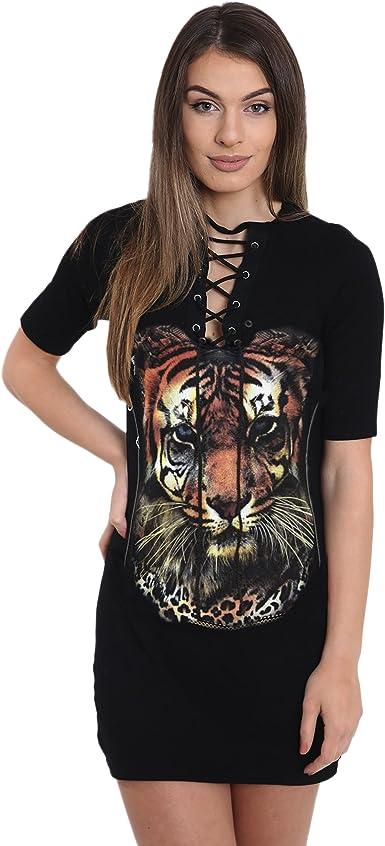 Womens Ladies Lace Up Eyelet Choker Neck Graphic Printed T Shirt Longline Dress