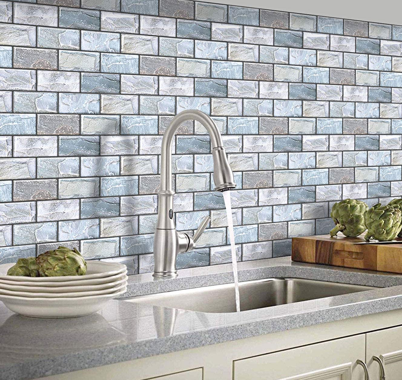 Yoillione 3d Mosaic Tile Stickers Bathroom Wall Tiles Stone Effect Wallpaper Self Adhesive Kitchen Tile Wall Sticker Blue Peel And Stick On Tiles Backsplash Decorative Wall Panels 3d Brick Tiles Amazon Co Uk Kitchen