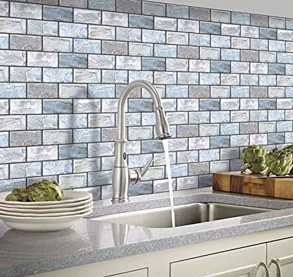 Yoillione Self Adhesive Wall Tiles For Kitchen Backsplash Vinyl 3d Stick On Tiles Blue Brick Tile Stickers For Bathroom Tile Transfers Waterproof Subway Tiles 6 Sheets 10 X10 6 Amazon Co Uk Kitchen Home