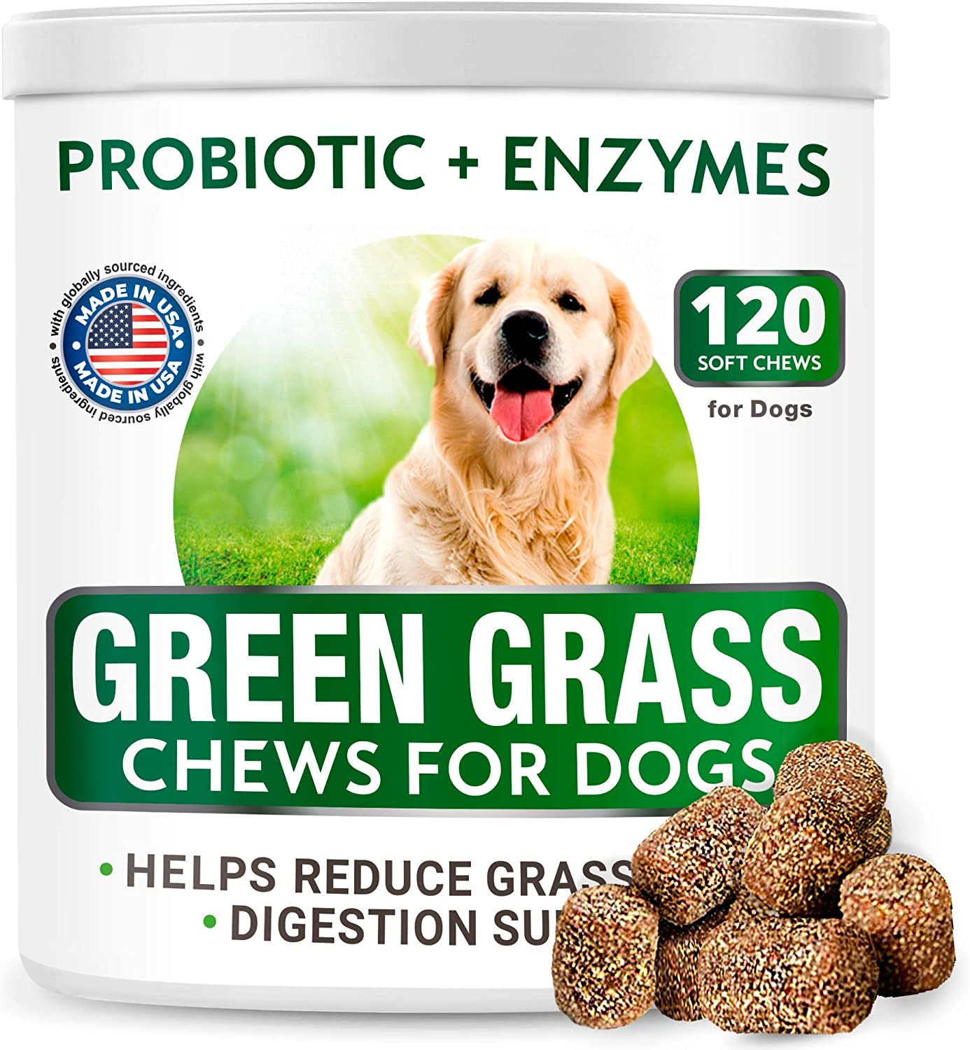 All-Natural Grass Treatment for Dog Urine - Grass Saver for Dogs - Pee Lawn Repair Chews w Probiotics - Dog Urine Neutralizer Solution for Grass Burn Spots - Made in USA - 120 Treats