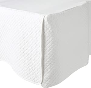 Greenland Home Diamond Quilted Bed Skirt, Queen, White