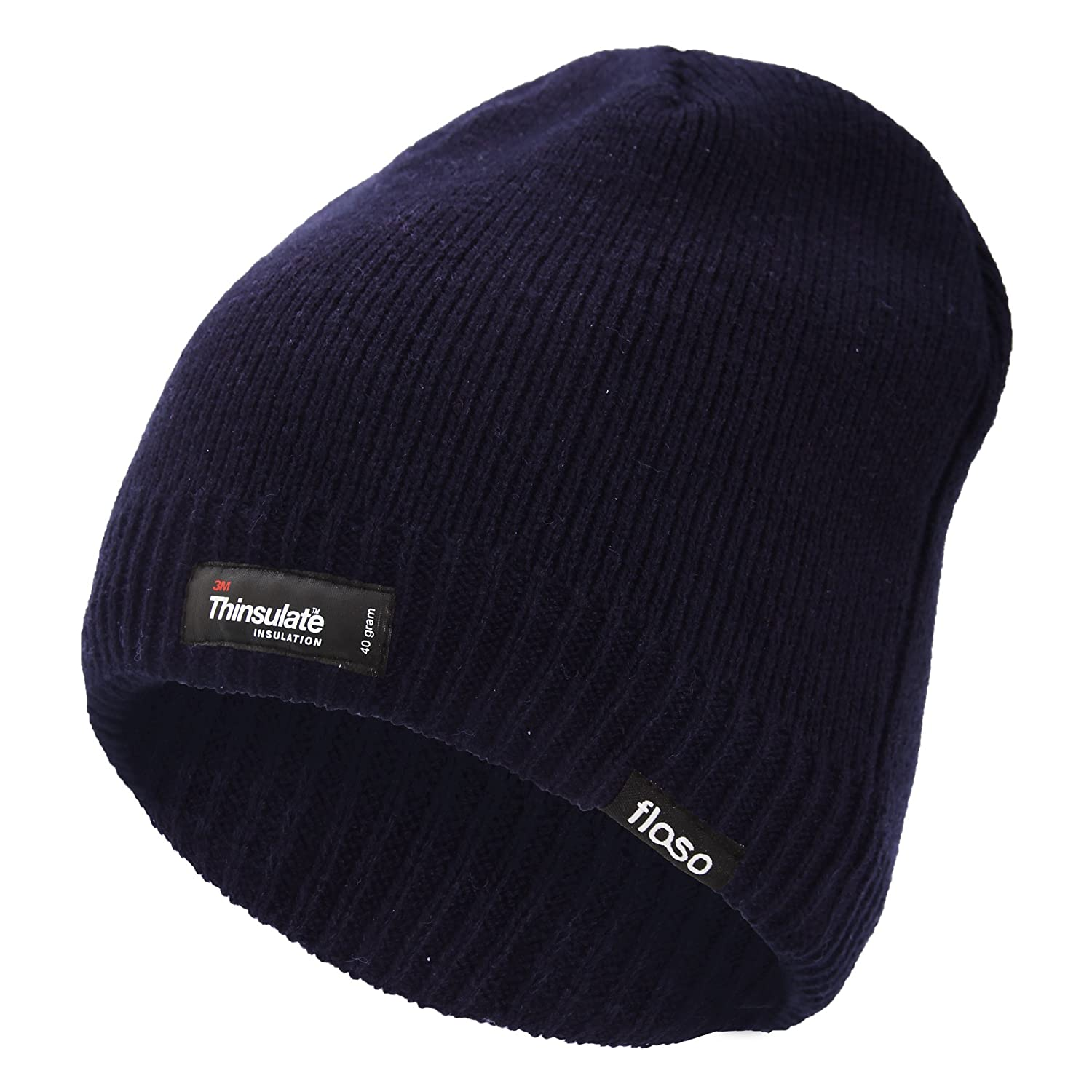 01a4acb6f7f Floso Mens Plain Thinsulate Thermal Knitted Waterproof Winter Hat   Amazon.co.uk  Clothing
