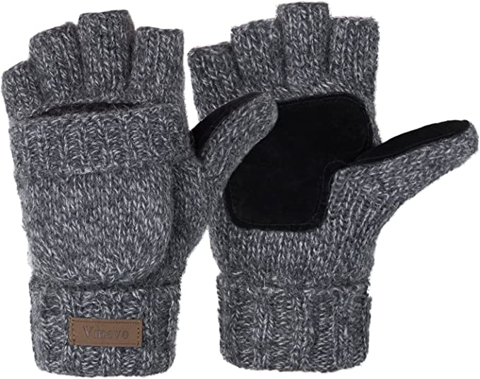ViGrace Winter Knitted Convertible Wool Mittens