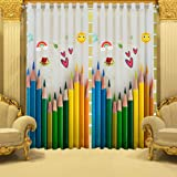 B7 CREATIONS Digital Printed Pencil Whiteout Eyelet Window Curtain 1 Piece - 5 Feet, Multicolor