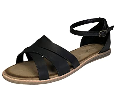 7ccd2a88aa9 BAMBOO Women s Cross Band Flat Footbed Sandal with Ankle Strap