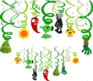 Plant vs Zombie Birthday Party Supplies Hanging Swirls, 24 CT Walking Zombies Theme Hanging Swirl Decorations for Kids Room Decor