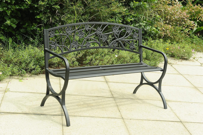 Remarkable Amazon Com Sunjoy 110208014 Sun Joy Steel Bench Black Andrewgaddart Wooden Chair Designs For Living Room Andrewgaddartcom