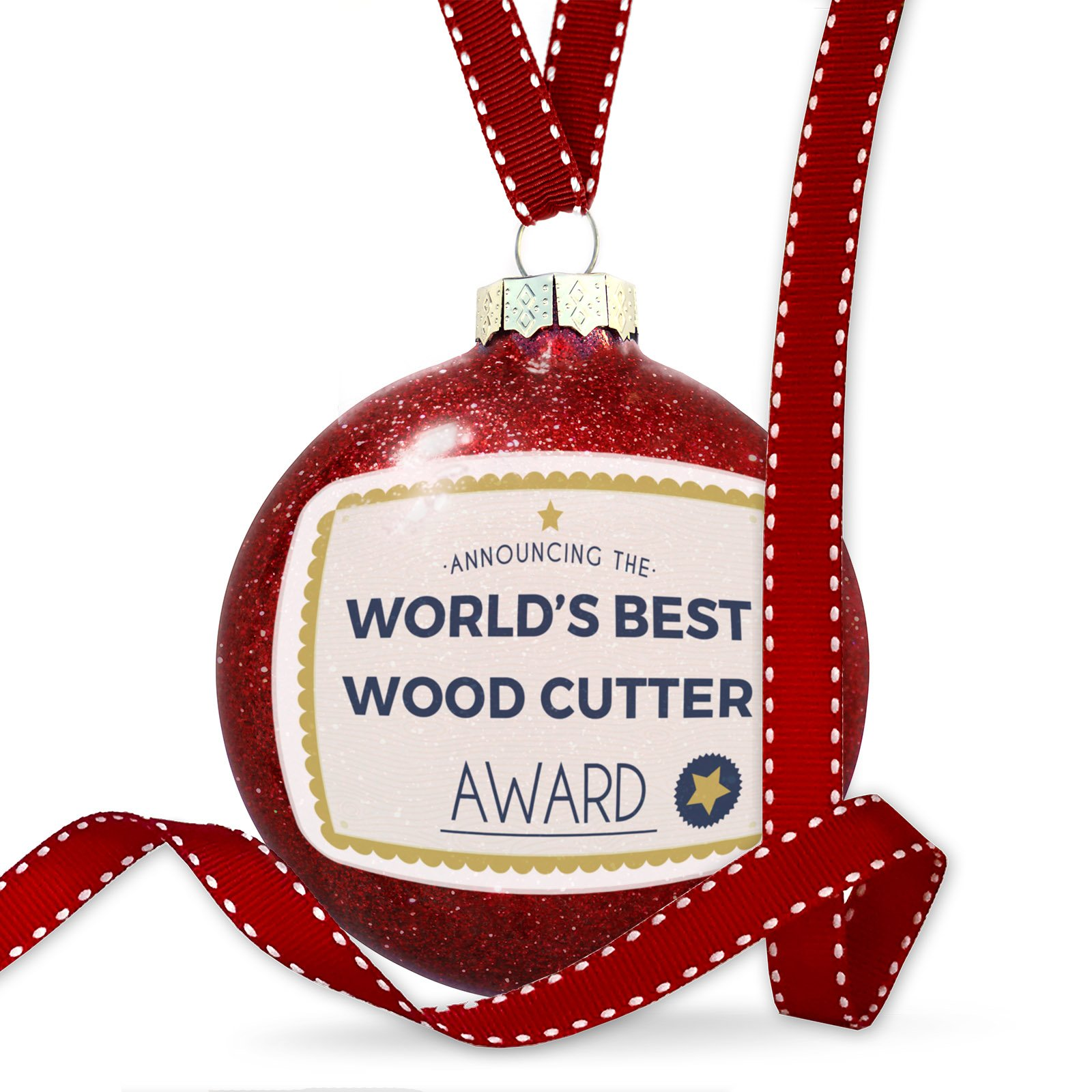 Christmas Decoration Worlds Best Wood Cutter Certificate Award Ornament by NEONBLOND (Image #1)