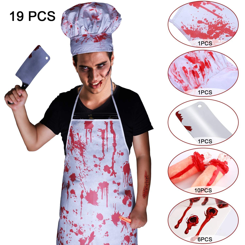 Amazon.com: 19 piezas de disfraz de Halloween sangriento ...