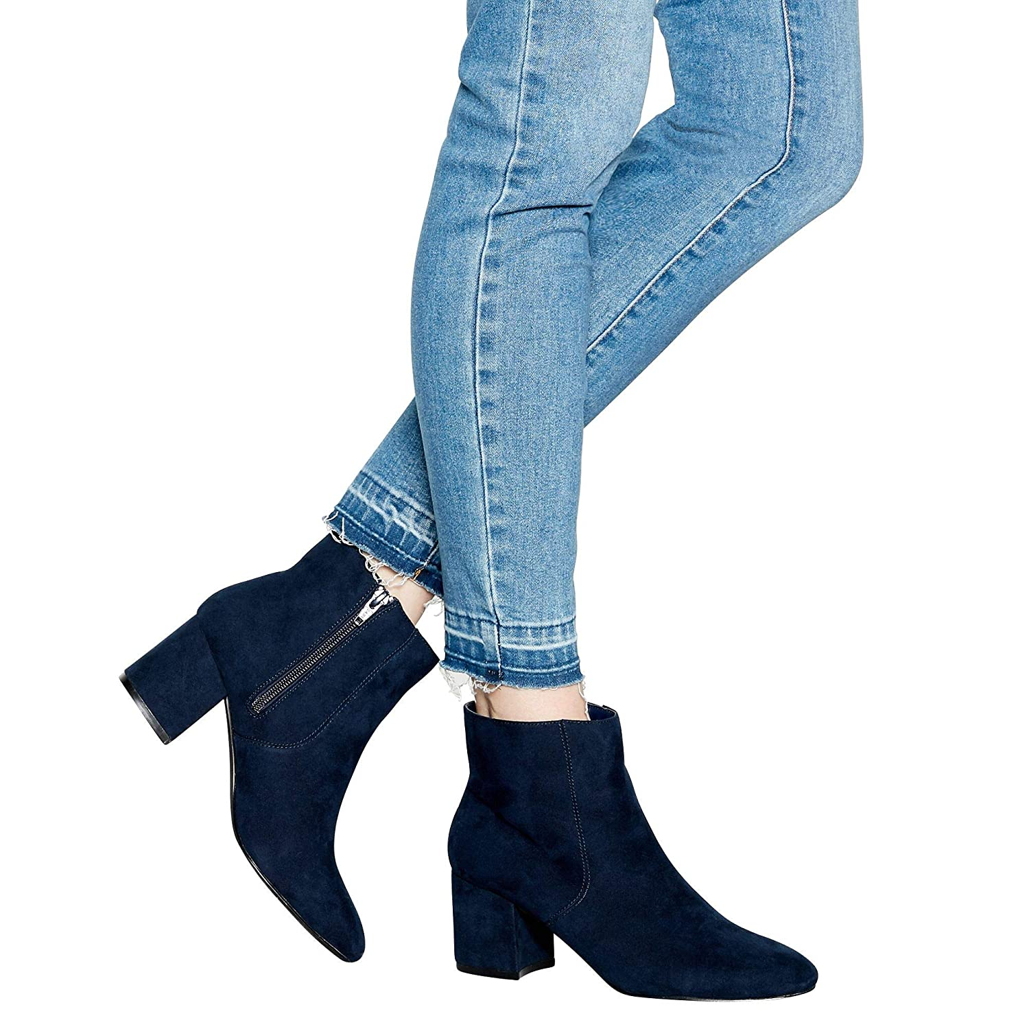 63afd95e0133f Principles Womens Navy Suedette 'Catrelle' Mid Block Heel Ankle ...
