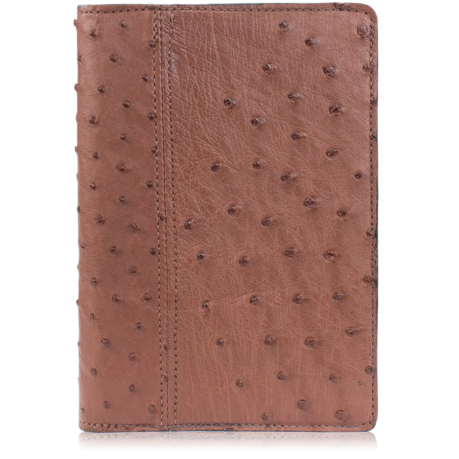 Genuine Ostrich Skin Leather Notebook Padfolio (Small, Brown)