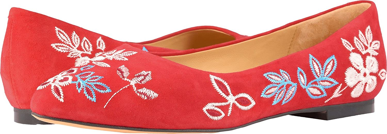 Trotters Women's Estee Embroidery Ballet Flat B073C1BHBZ 9 B(M) US|Red