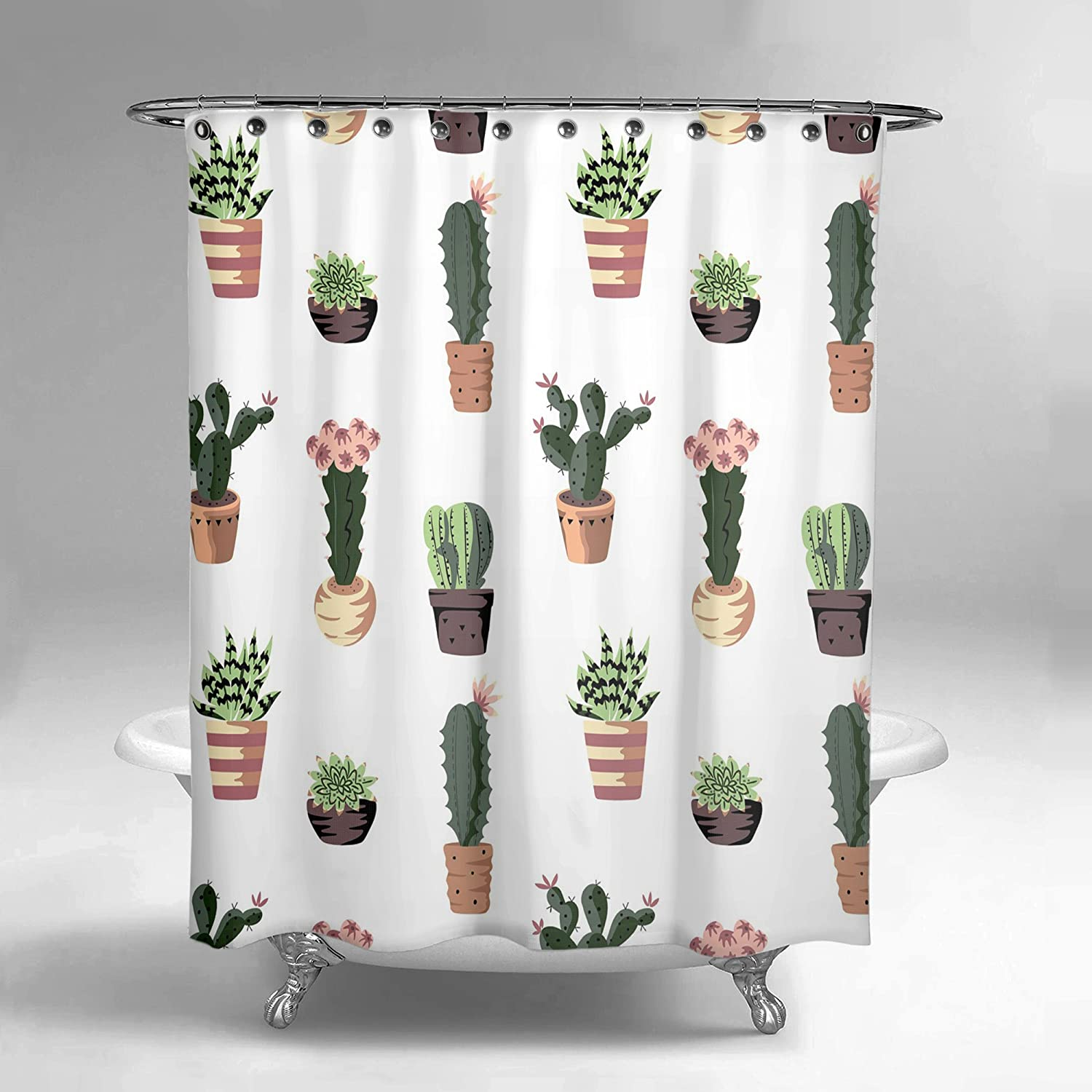 Lume.ly - Succulent Cactus Polyester Fabric Shower Curtain Set for Bathroom W/12 PREMIUM STAINLESS STEEL Hooks Rings, Unique Luxurious Designer Bright Art Decor Home (White Green) (72x72 in)