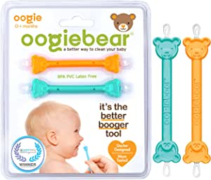 oogiebear - Curved Scoop and Loop; The Safe Baby Nasal Booger and Ear Cleaner - Easy Baby Nose Cleaner Gadget for Infants and Toddlers | Dual Earwax Snot Removal - Two Pack Orange Seafoam