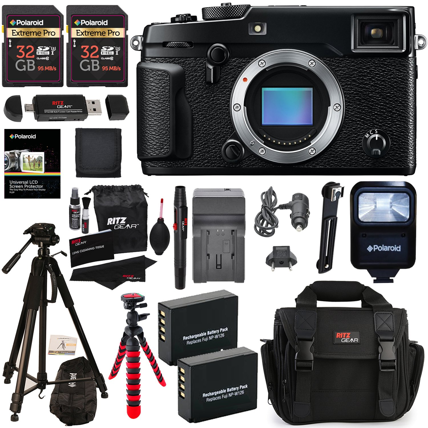 Fujifilm X-Pro2 Body Professional Mirrorless Camera + 32GB 2 Pack + Ritz Gear Camera Case + Polaroid 72'' Tripod + 2 Batteries + Charger + Card Reader + Cleaning Kit + Memory Card Wallet Bundle