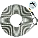 HIGH GRAND 50 ft 304 Stainless Steel Metal Garden Hose Pipe with Solid Brass Nozzle, 8 Function Spray Gun,Lightweight Portabl