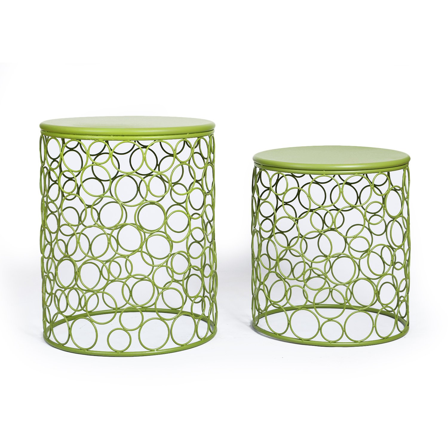Adeco Home Garden Accents Circle Wired Round Iron Metal Nesting Stool Side End Table Plant Stand, Bubble Pattern, for Indoor Outdoor, Olive Drab Green, Set of Two by Adeco