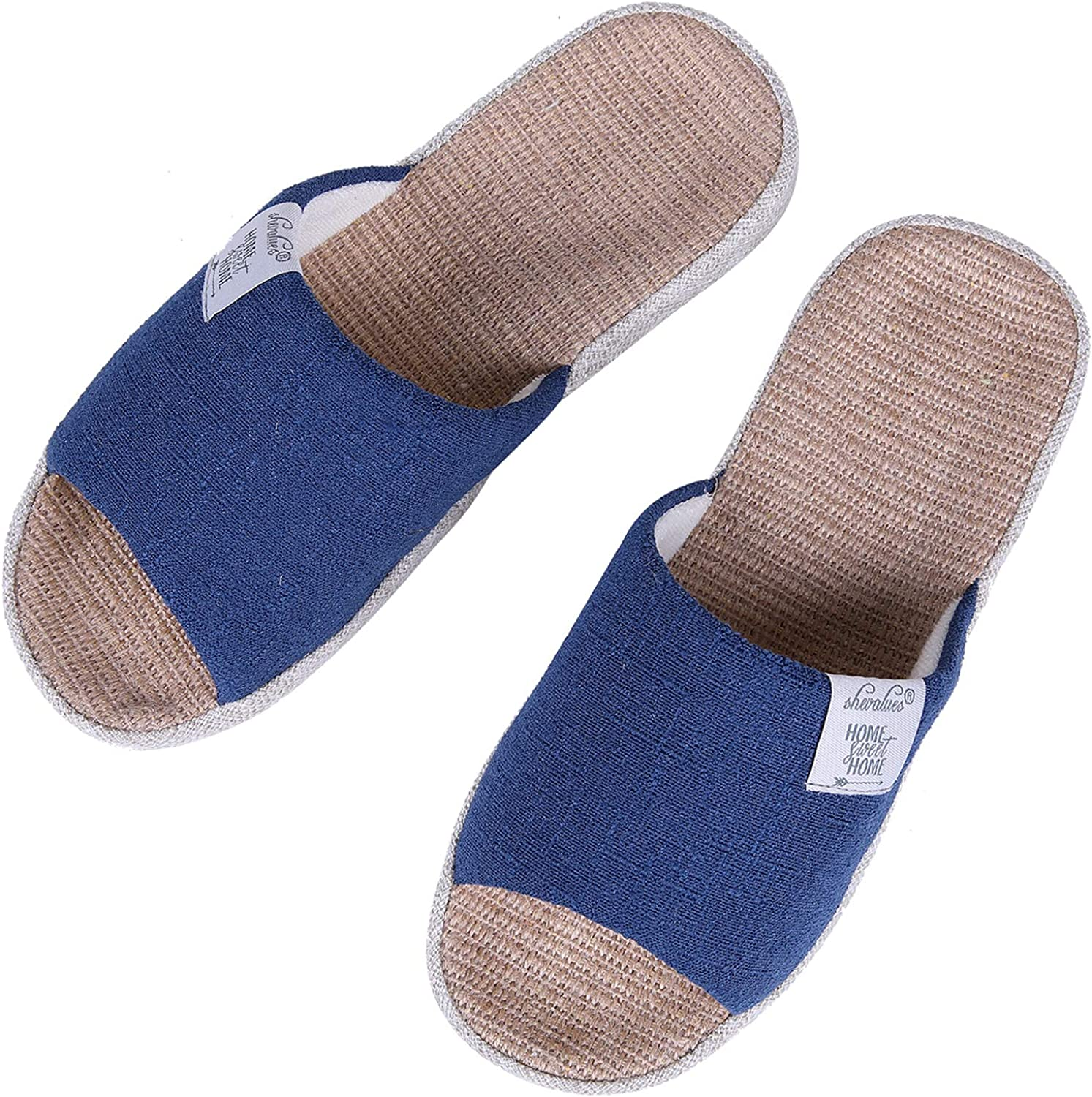 shevalues Womens Indoor House Slippers Summer Linen Home Shoes Open Toe Slip on Cotton House Slippers