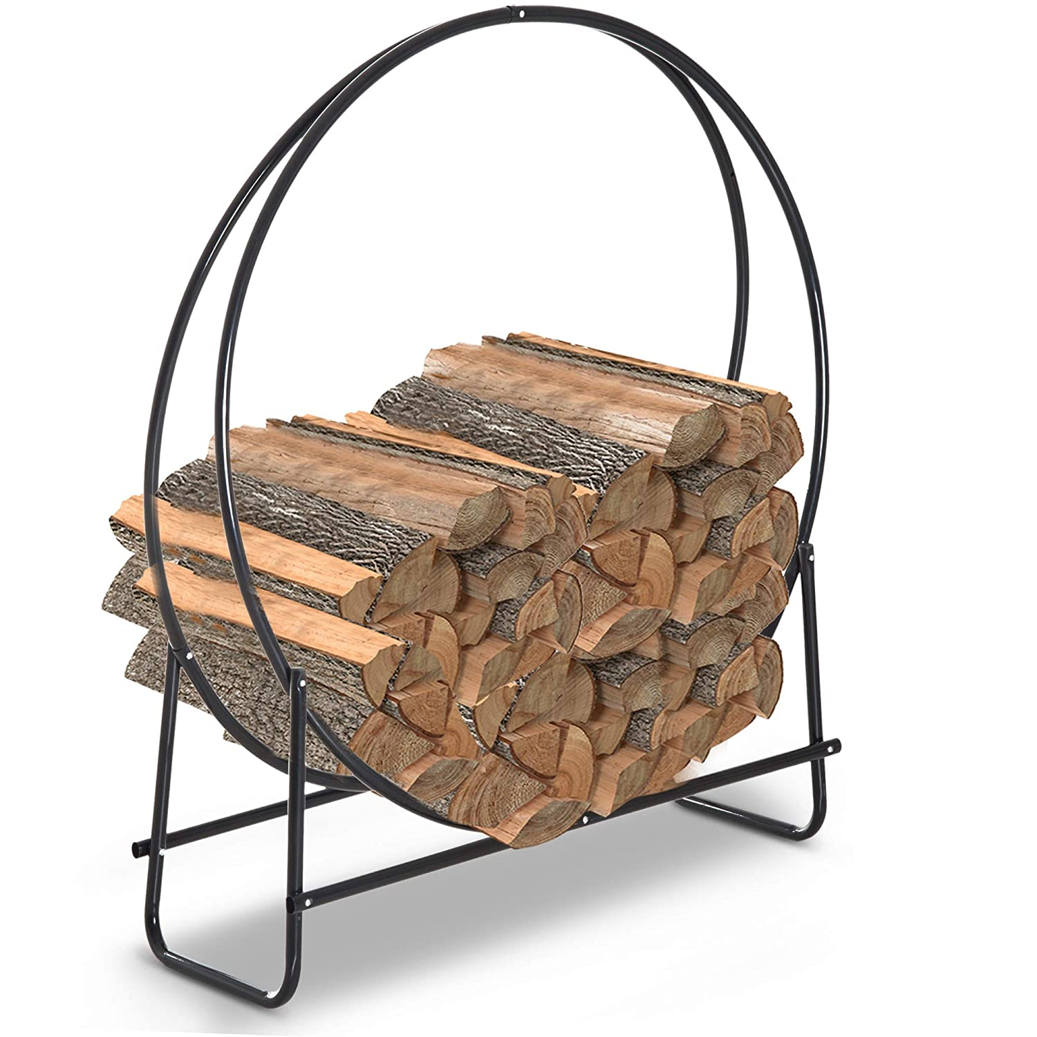 HOMCOM Firewood Log Rack Steel Storage Stand Holder Solid Hoop Black Outdoor and Indoor 102 x 40 x 114 cm Sold by MHSTAR