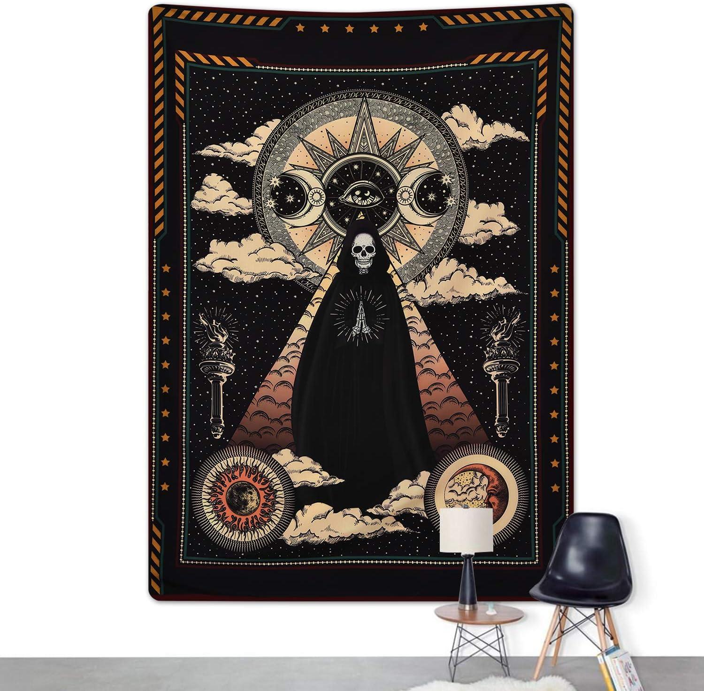 Sevenstars Wizard Skull Tapestry Solar Iris Tapestry Sun And Moon Tapestry Star And Cloud Tapestry Tarot Tapestry For Room Home Décor Kolenik Tapestries