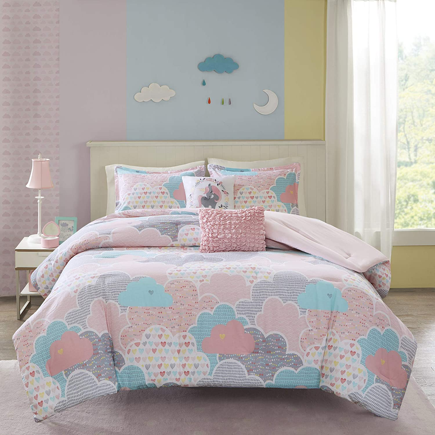 Urban Habitat Kids Comforter Vibrant Fun and Playful Unicorn Print Down Alternative All Season Children Bedding-Set, Girls Bedroom Décor, Full/Queen, Pink