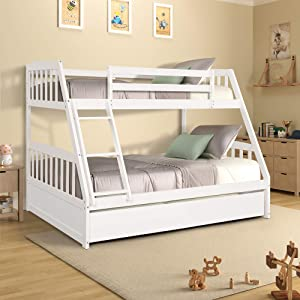 Merax Solid Wood Bunk Bed Daybed No Box Spring Needed with Guardrails and Ladder for Kids and Teens Trundle, Twin/Full, White