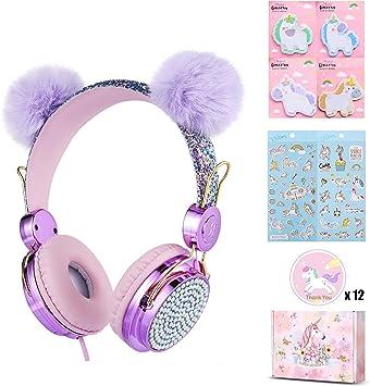 Wireless Kids Headphones for Girls Unicorn Wireless Headphones with Microphone Adjustable Glitter Headband Over Ear Anime Headphones for Children Kids School Online Course Pink-Unicorn