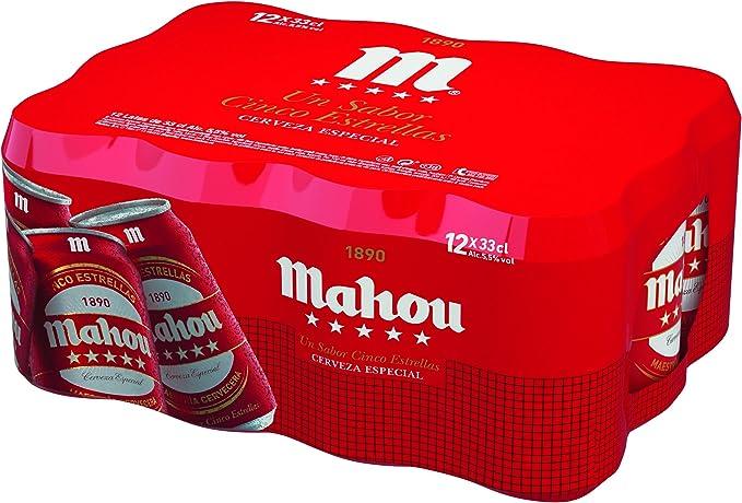 Mahou 5 Estrellas Cerveza Dorada Lager, 5.5% de Volumen de Alcohol - Pack de 12 x 33 cl: Amazon.es: Alimentación y bebidas