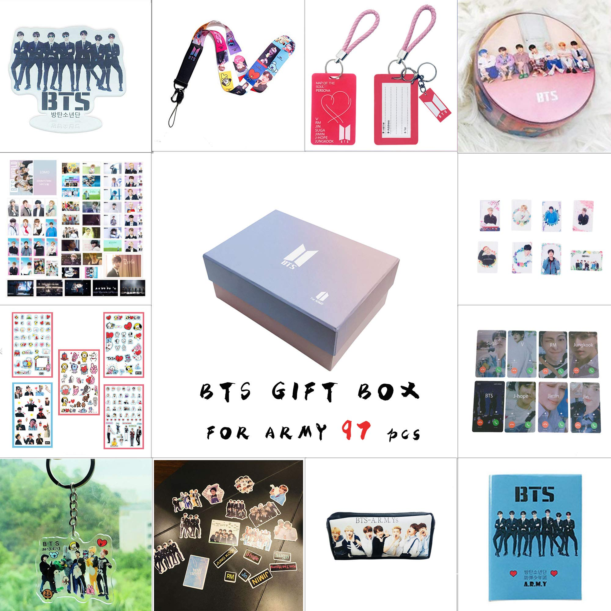 BTS Gifts Set for Army 97 pcs Bantan Boys World Box Include Postcards Stickers,Gift Case for Daughter Granddaughter (BTS-Box) by BTS-Gift BOX