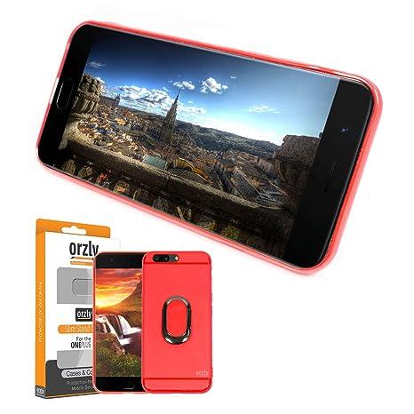 ORZLY® Funda Ultra-Fina OnePlus 5, Carcasa Protectora Slim-Stand [Anti-Arañazos] para el OnePlus 5 en Rojo con Stand Integrado en Forma de Anillo para ...
