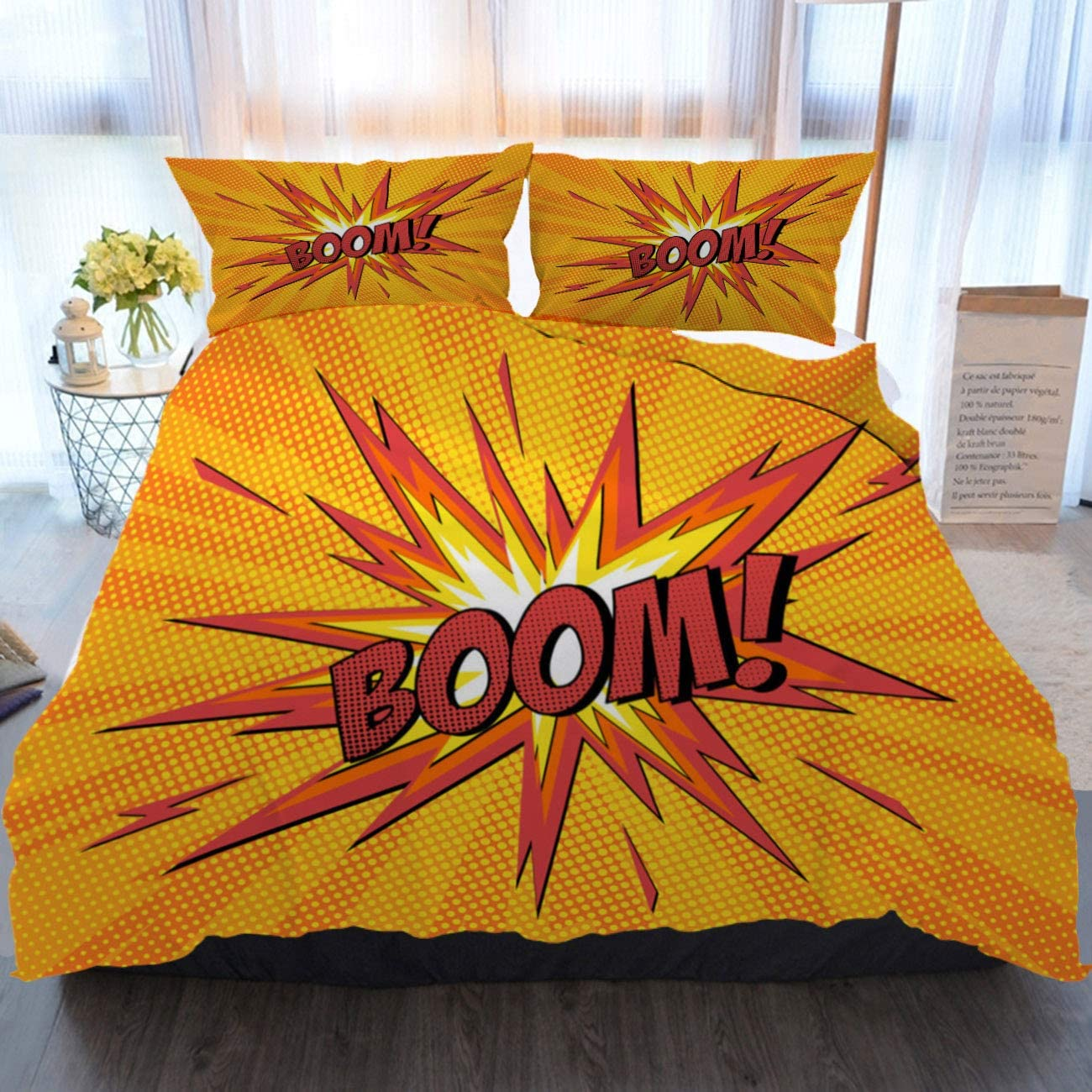 BEIVIVI Bedding 3 Piece Duvet Cover Set Comic Bang Soft Breathable Home Luxury Duvet Comforter Cover