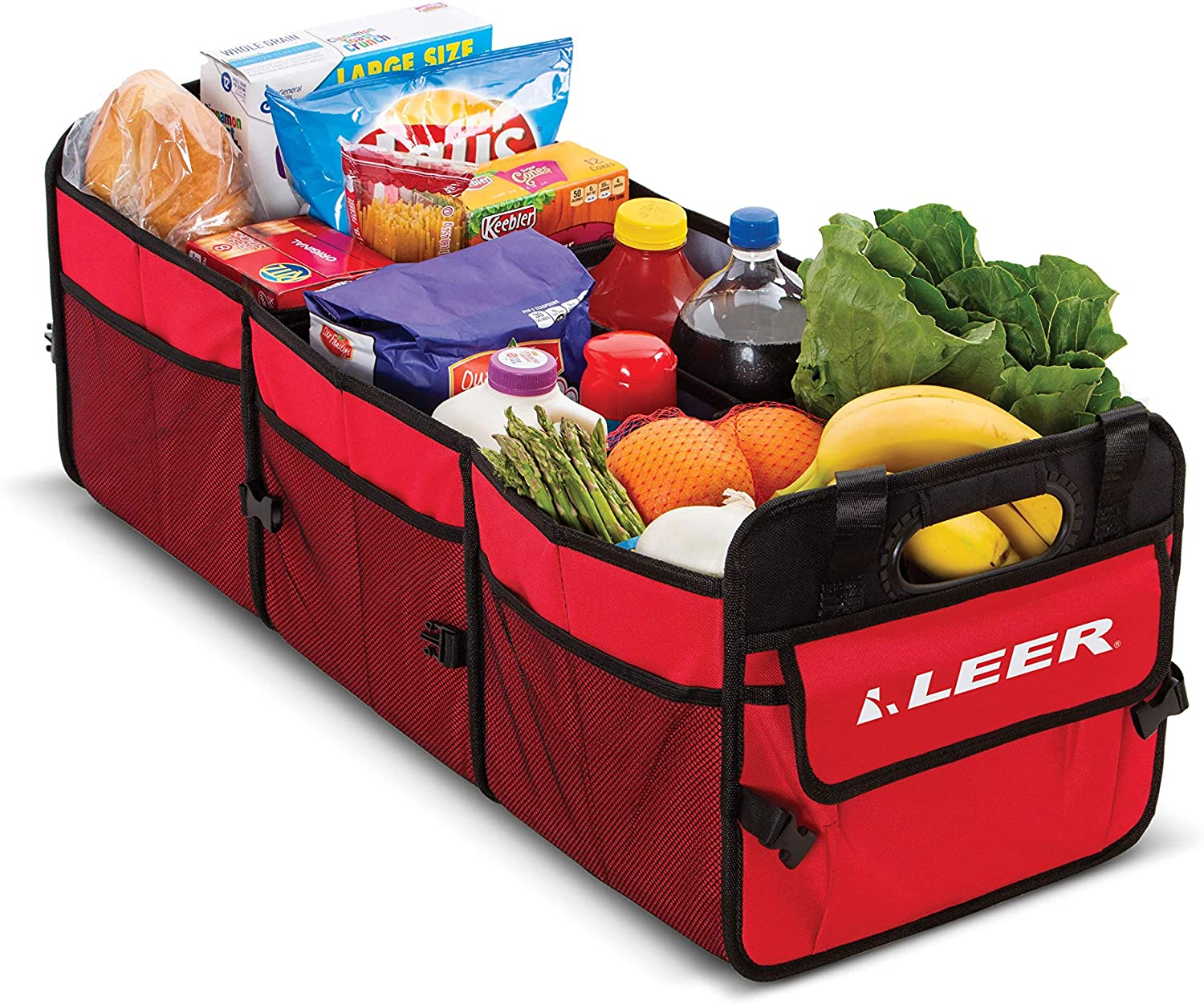 Collapsible 3 Compartment Cargo Caddy Use for Groceries Toys Convertible Cargo Caddy LEER Gear and Storage