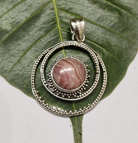 Natural Argentina Rhodonite Pendant 925 Sterling Silver Jewelry Gifts Statement Women Fashion Easter Gifts Mothers Day Wedding Jewelry Gifts